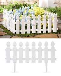 White Picket Fence Garden Border 4 Pc Set From Collections Etc White Picket Fence Garden Small Garden Fence Picket Fence Garden