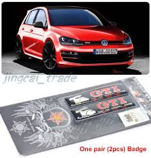 Pair 2 Pcs Rabbit Gti Epoxy Aluminium Car Decal Badge Emblem For Volkswagen Vw