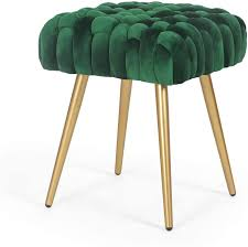 Amazon Com Adeco Knit Lines Ottoman Stool Seat For Living Room Kids Room Chairs Modern 17 Inches Height Green Flannel Furniture Decor