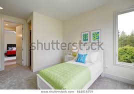 Contemporary Blue Green Kids Bedroom Walls Stock Photo Edit Now 644816359