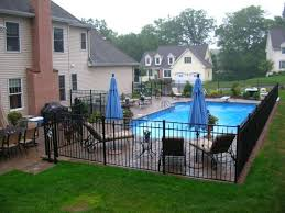 This Fate Is Nicer Than The Chain Link Fence That Is There Inground Pool Landscaping Backyard Pool Landscaping Pool Fencing Landscaping