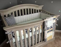 crib bedding set sawyer mint navy grey