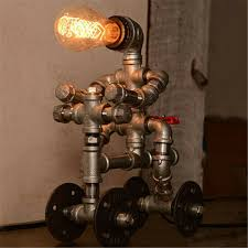 Industrial Silver Iron Pipe Robot Table Lamp Kids Room Study Desk Lighting Plug Ebay