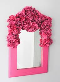 mirror with flowers and spray paint