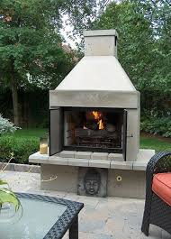 stone open face outdoor gas fireplace