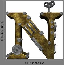 Steampunk Letter N Wall Decal Wallmonkeys Com