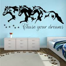 Chase Your Dreams Horses And Stars Wall Vinyl Sticker Kids Room Wall Decal Removable Wallart Mural Hj849 Wall Stickers Aliexpress