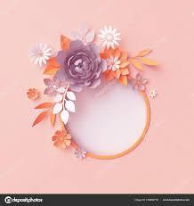 render fall paper flowers botanical