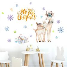 Diy Sika Deer Head Flowers Wall Stickers For Living Room Art Vinyl Wall Decals For Kids Baby Living Room Decor Adesivo De Parede Wall Stickers Aliexpress