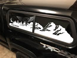 Tacoma Bed Topper Windows Mountains Trees And Wolf Or Deer Or Trout Travel Vinyl Sticker Decal