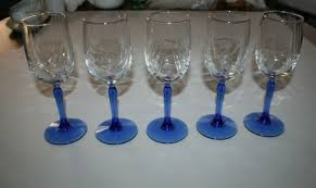 wine glasses cobalt blue stem clear
