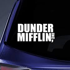 Amazon Com Bargain Max Decals Dunder Mifflin Office Sticker Decal Notebook Car Laptop 6 White Automotive