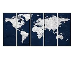 Amazon Com Globe Navy Blue World Map With Pins To Mark Travels Watercolor World Travel Map Wall Decal With Countries Multi Panel Canvas Wall Art Hr115 Handmade
