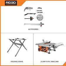 Ridgid 15 Amp 10 In Table Saw With Folding Stand R4518 The Home Depot