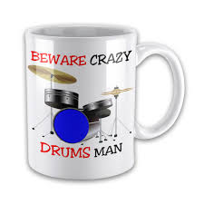 crazy drums man funny novelty gift mug