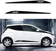 Amazon Com Autotoper Car Side Door Skirt Strip Sticker Decals For Toyota Aygo Arius Yaris Black Vinyl Car Decal Accessories Styling 1 Pair L R Automotive