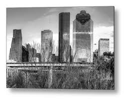 Houston Skyline Art Houston Texas Wall Print Black And Etsy