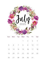 2020 Printable Calendar Floral, Watercolor Calendar, Letter Size, A4 Size,  12 Month Calendar, Monthly Calendar in 2020   July calendar, Watercolor  calendar, Printable calendar