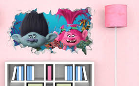 Trolls Poppy Branch Wall Decal Trolls Smashed Sticker Movie Kids 3d Smashed Art Ls385 Wall Decals Vinyl Colors Poppies