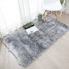 Amazon Com Ojia Deluxe Soft Fuzzy Fur Rugs Faux Sheepskin Shaggy Area Rugs Fluffy Modern Kids Carpet For Living Room Bedroom Sofa Bedside Decor 2 X 3ft Grey Home Kitchen