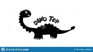 Silueta De La Impresion De Los Ninos De Un Dinosaurio En El Estilo