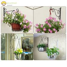Gm Wall Mounted Flower Hanging Hooks Holder Plant Flower Pot Basket Bracket Decoration For Garden Shopee Philippines