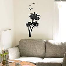 Amazon Com Vinyl Wall Art Decal Palm Trees With Birds 36 65 X 16 Trendy Cool Beach Island Seagulls Ocean Vacation Travel Home Bedroom Apartment Workplace Living Room Dorm Room Decor
