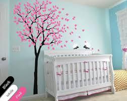 Black Tree With Pink Leaves Hedgehog Nursery Wall Sticker Vinyl Deca Walldecaldesigns