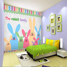 Happy Bunny Family Children S Room Nursery Background Wall Wall Sticker Wall Painting Specializing In The Production Of Wallpap Wallpapers Aliexpress