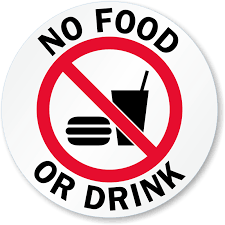 No Food Or Drink Glass Decal Signs Sku Lb 2898
