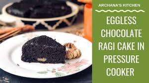 eggless chocolate ragi cake pressure