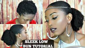 sleek low bun on short 4c natural