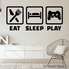 Gaming Lifestyle Vinyl Wall Sticker Quote Video Game Playroom Teen Room Decor Stickers Eat Sleep Play Wall Decals Removable S727 Wall Decals Decal Removervinyl Wall Stickers Aliexpress