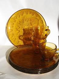 vintage amber glass snack sets round
