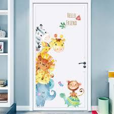Amazon Com Cartoon Animals Wall Stickers Diy Children Mural Decals For Kids Rooms Baby Bedroom Wardrobe Door Decoration Animal Baby