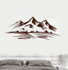 Vinyl Wall Decal Mountains Trees Nature Landscape Decor Stickers Uniqu Wallstickers4you