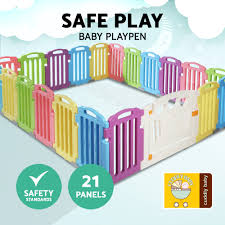 21 Panel Multi Coloured Plastic Toddlers Playpen Portable Yard Fence Safety Play Ebay