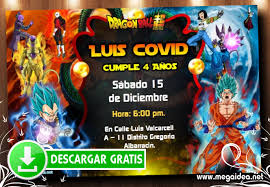 Invitaciones De Dragon Ball Super Para Editar Gratis Mega Idea
