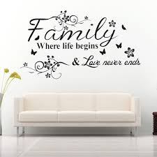 Family Where Life Begins Decal Mural Wall Sticker Diy Art Quote Words Home Decor Walmart Com Wall Quotes Sticker Wall Art Quotes About Motherhood