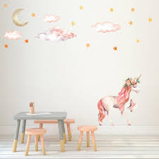 Cartoon Unicorn Star Wall Stickers For Kids Rooms Girls Rooms Bedroom Decor Animal Wall Art Unicorn Party Kids Room Decoration Shopee Bazar