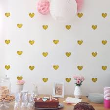 Amazon Com Amaonm 72 Pcs Removable Sparkling Gold Heart Wall Decals Stickers Diy Peel And Stick Art Decor Vinyl Wall Decal For Home Walls Weeding Birthday Party Kids Room Nursery Bedroom Wall Decoration