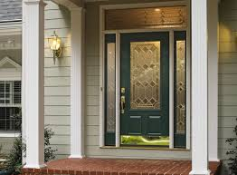 front door with sidelights made of