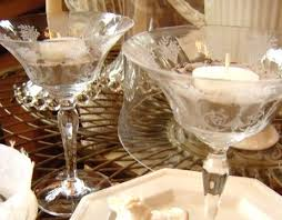 wine glasses candle holders beach
