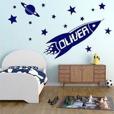 Details About Rocket Personalised Any Name Wall Sticker Boys Bedroom Kids Vinyl Decal Ad179 Ruimte