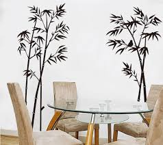 Stunning Bamboo Decorative Vinyl Decal Idea Set On The Wall Beside Round Glass Dining Table Plus Fa Wall Stickers Home Decor Living Room Decals Diy Wall Decals