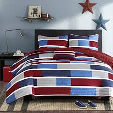 striped bedding navy blue purple red