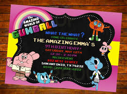 The Amazing World Of Gumball Invitation Digital Download Or