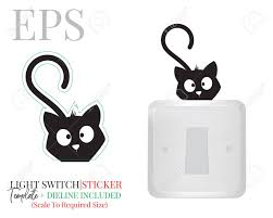 Light Switch Sticker Cute Cat Silhouette Vector Kitten Illustration Royalty Free Cliparts Vectors And Stock Illustration Image 136900002