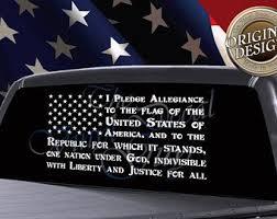 Pledge Of Allegiance Truck Window Decal American Flag Decal Car Truck Window Decal Ame American Flag Decal American Flag Decal Cars American Flag Sticker