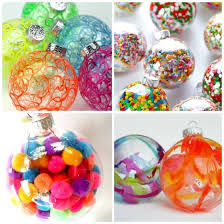 clear plastic or glass ornaments